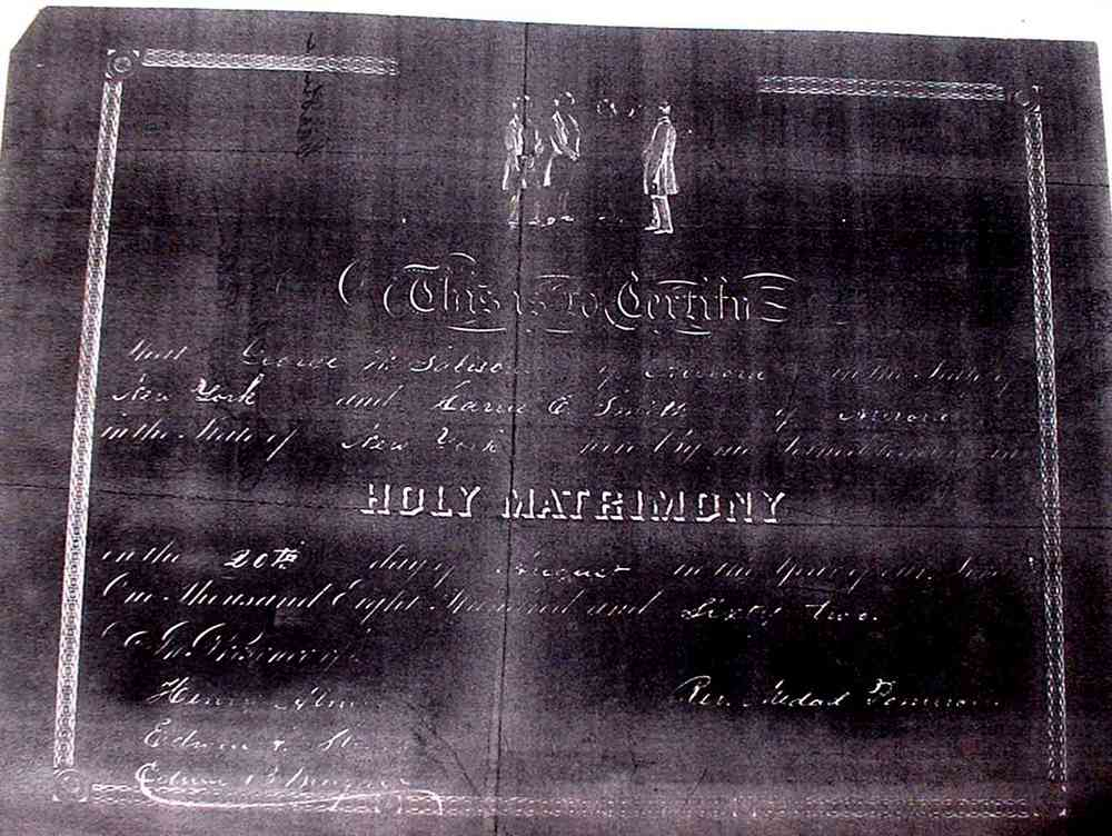 George Washington Salisbury - George W. Salisbury and Caroline M. Smith's marriage certificate