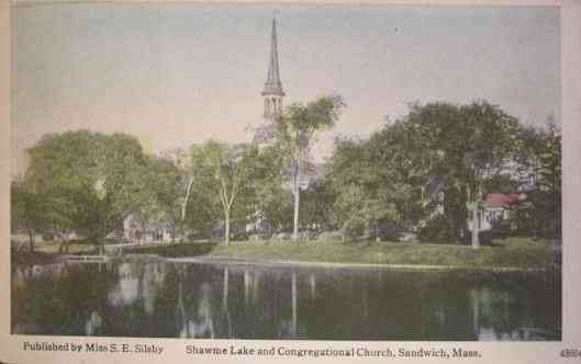 Sandwich, Massachusetts, USA (East Sandwich) (Forestdale) - Shawme Lake and Congregational Church, Sandwich, Mass.
