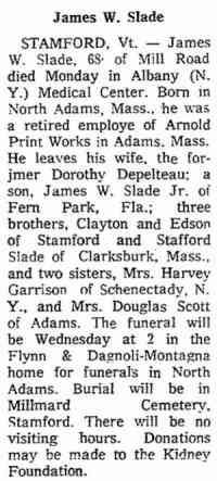 James William SLADE - 1972 obituary