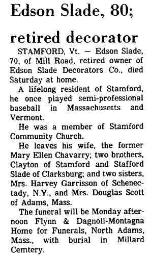 Edson S SLADE - obituary