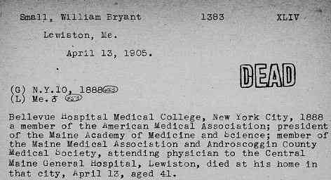 William Bryant SMALL - United States, Deceased Physician File (AMA), 1864-1968; familysearch.org