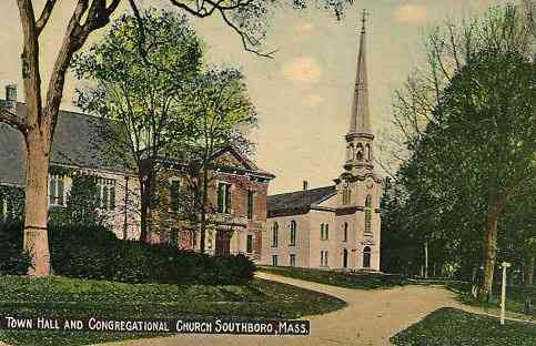 Southborough, Massachusetts, USA  - Town Hall and Congregational Church, Southboro, Mass. (1915)