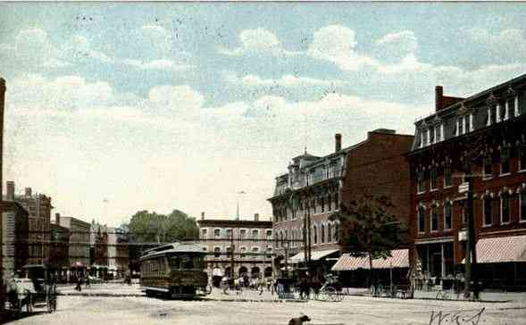 Southbridge, Worcester, Massachusetts, USA - Southbridge, Mass., Post Office Square, looking West - 1907