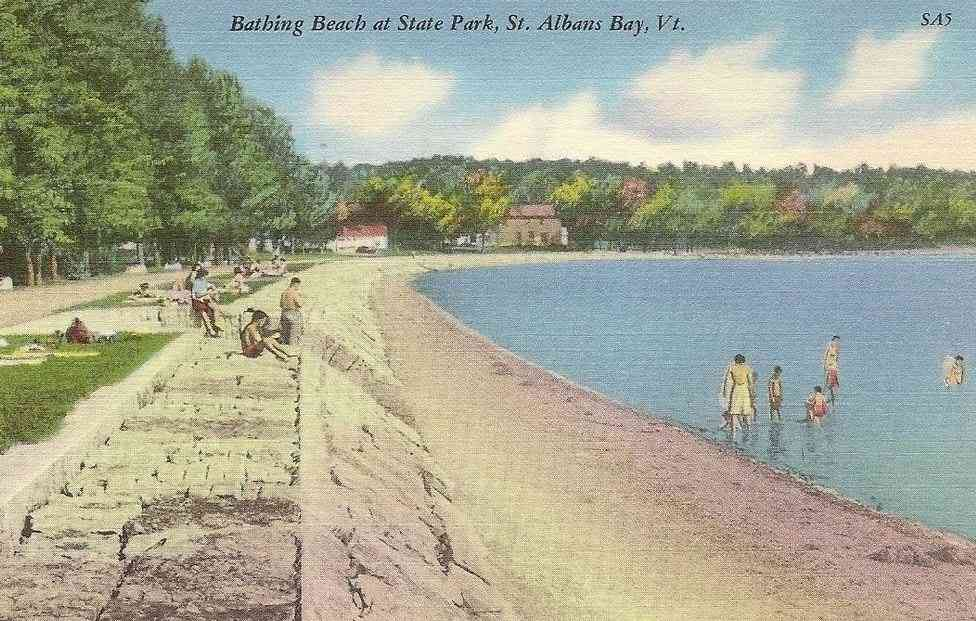St Albans, Vermont, USA - Bathing Beach at State Park, St. Albans Bay, Vt.