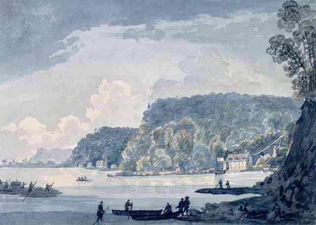 Saint-Augustin-de-Desmaures, Québec, Canada - View of Saint Augustin on the St. Lawrence (1837)