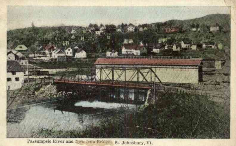 St Johnsbury, Vermont, USA - Passumpsie River and New Iron Bridge, St. Johnsbury, Vt.