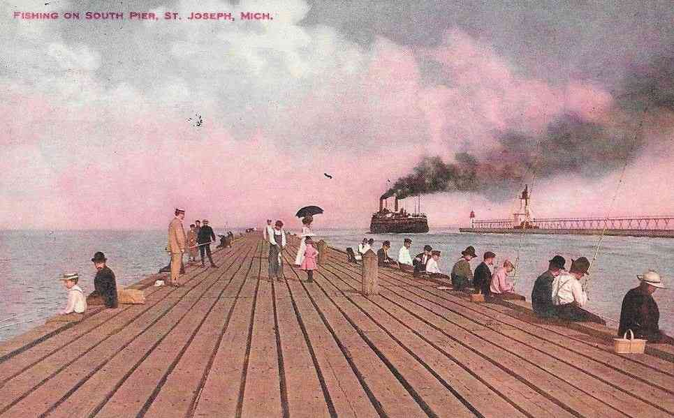 St Joseph, Michigan, USA - Fishing on South Pier, St. Joseph, Mich.