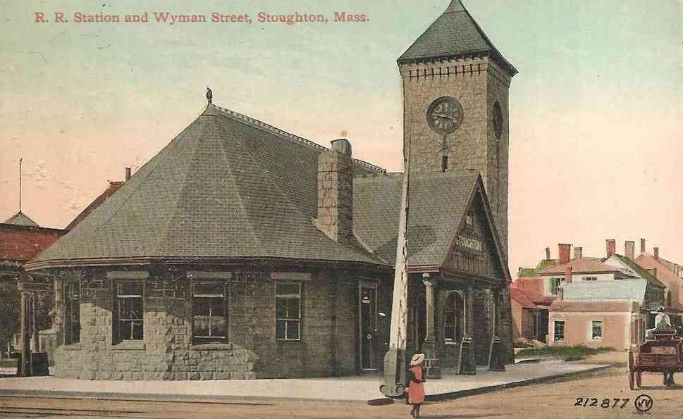 Stoughton, Massachusetts, USA - R.R. Station and Wyman Street, Stoughton, Mass.
