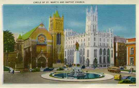 Syracuse, New York, USA - Circle of St. Mary's and Baptist Church. Syracuse, N. Y.