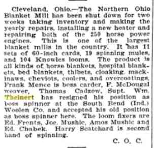 "Wilhelm Albert ""William"" THEINERT - 1906 Cleveland