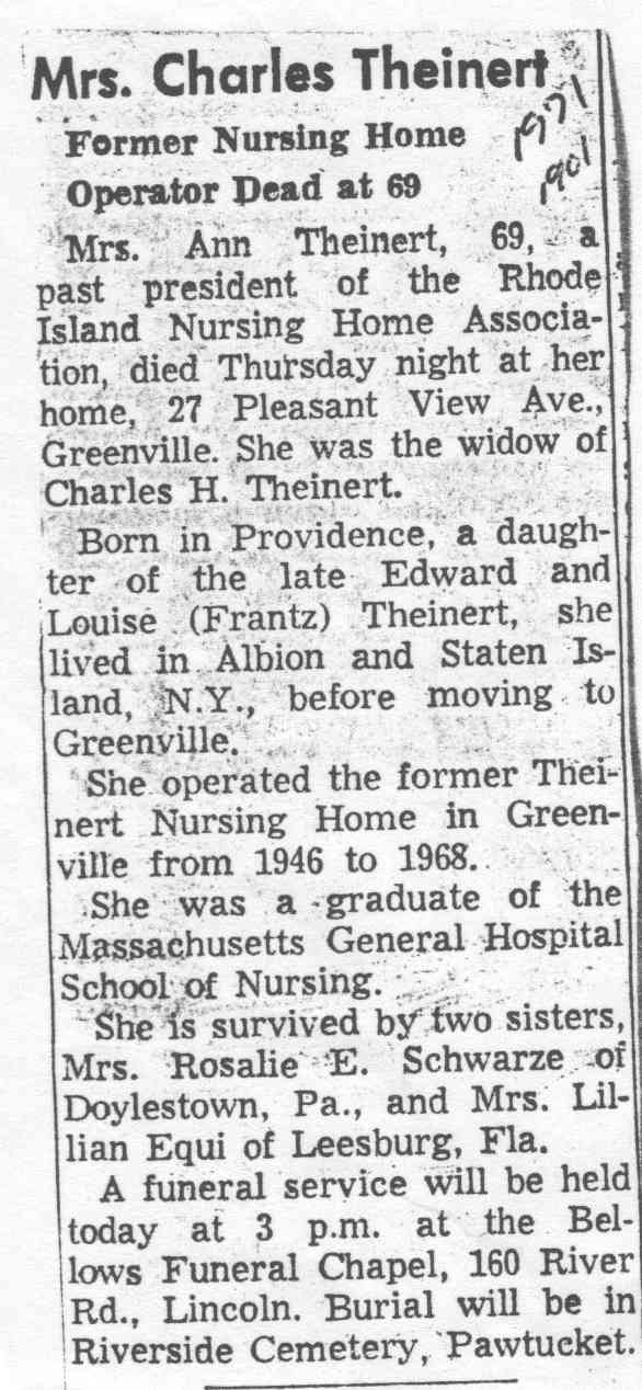 Anne Theinert - 1971 obituary