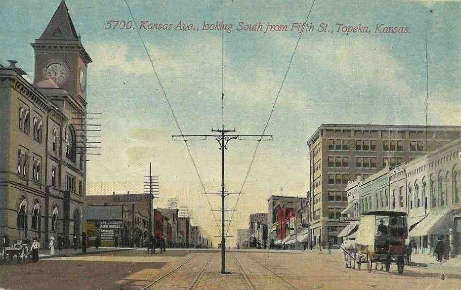 Topeka, Kansas, USA - Kansas Ave., looking South from Fifth Street