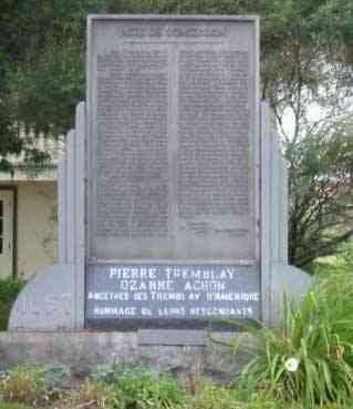 Pierre Tremblay - Monument dedicated to Pierre Tremblay and Ozanne Achon, ancestors of the Tremblays of America locate