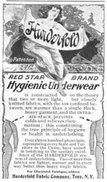 Troy, New York, USA - Harderfold Red Star Brand Hygienic Underwear