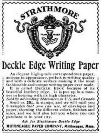 West Springfield, Massachusetts, USA - Strathmore Deckle Edge Writing Paper