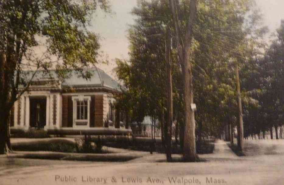 Walpole, Massachusetts, USA - Public Library & Lewis Ave., Walpole, Mass.