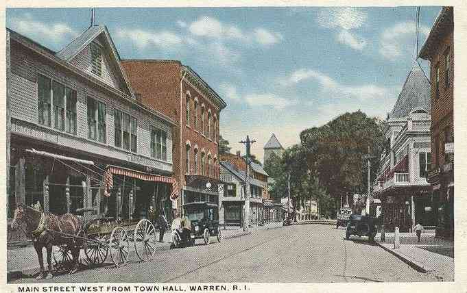 Warren, Rhode Island, USA - Main Street West From Town Hall, Warren, R. I.