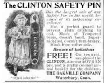 Waterbury, Connecticut, USA - The Clinton Safety Pin
