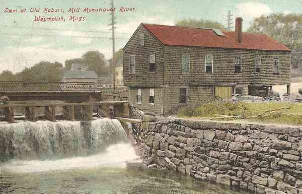 Weymouth, Massachusetts, USA - Dam at Old Hobart Mill, Monatiquet River (1910)