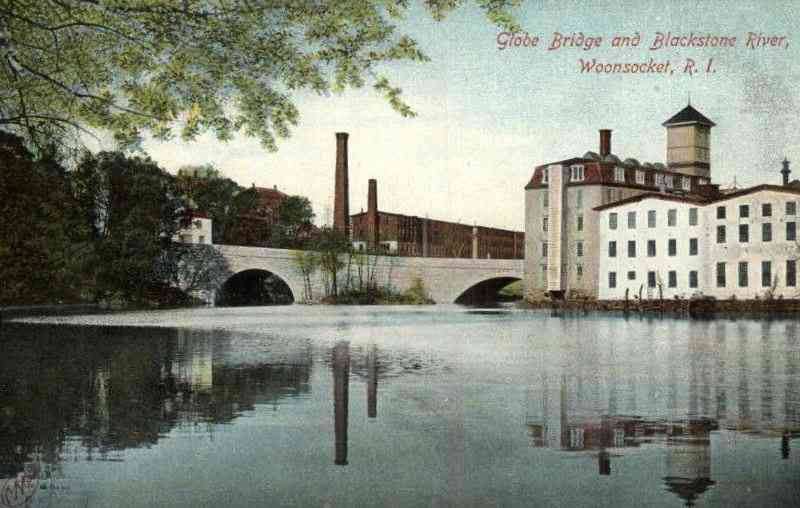Woonsocket, Providence, Rhode Island, USA - Globe Bridge and Blackstone River, Woonsocket, R. I.
