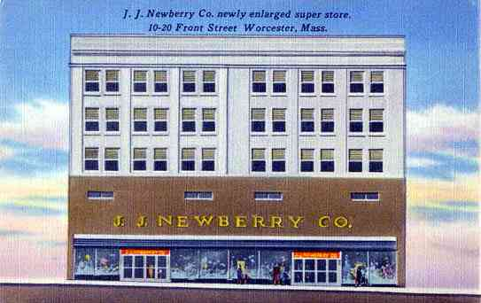 Worcester, Worcester, Massachusetts, USA - J. J. Newberry Co. newly enlarged super store. 10-20 Front Street Worcester, Mass.