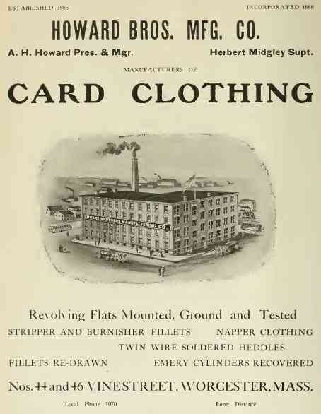 Worcester, Massachusetts, USA - Howard Bros. Mfg. Co.